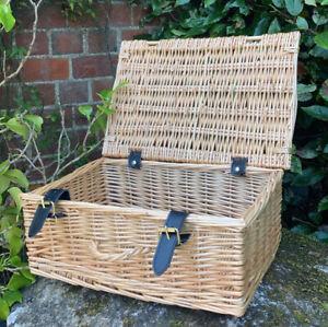 Vintage Genuine Wicker Twin Handle Hamper Basket Straps & Buckles - Beautiful