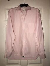 Mens Billy Reid Pink White Striped Button Down Shirt Large Slim Cut