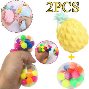 2X Pineapple & DNA Stress Ball Fidget Sensory Toys Squeeze Ball Anxiety Reliever