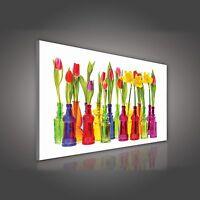 Canvas Wandbild Bilder Leinwandbild Bunte Blumen Tulpen Natur für Küche XXL