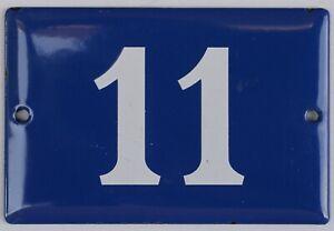Old blue French house number 11 door gate plate plaque enamel steel metal sign