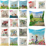 Romantic Bicycle Flower Pillow Case Decorative Couch Sofa Throw Cushion Cover
