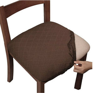 Gute Dining Chair Seat Covers with Ties Stretch Jacquard Coffee Brown Set Of 4