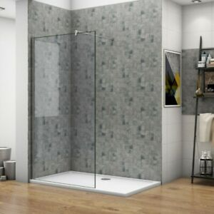 Walk in Wet Room Shower Enclosure Screen Panel Easy Clean Glass Cubicle and Tray