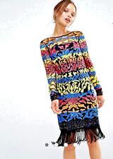 Woman Clothes Maya Long Sleeve Dress Multi Color Sequin Mini With Tassel Hem
