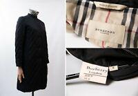 Women's BURBERRY LONDON Black Long Quilted Jacket Nova Plaid Size S