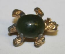Gold Tone & Jade Cabochon Turtle Scatter Pin Brooch Lapel Tie Tack Marine Life