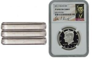 3 Coins 2011-S Proof Silver Kennedy Half Dollar NGC PF69 UC Kennedy Signature