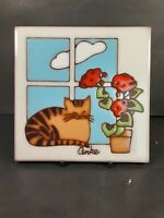 Decorative tile/ trivet cat sleeping by window red flowers, signed Anke