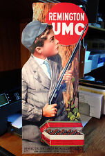 Repro Remington Umc Boy & Model 12 behind tree. Standing Advertising Die Cut