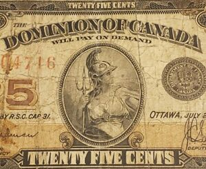 1923 Dominion of Canada 25 Cents Banknote. RARE HYNDMAN Signed & AUTHORIZED.