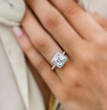 Ring In Solid 14k Yellow Gold Fancy 2Ct White Asscher Moissanite Halo Engagement