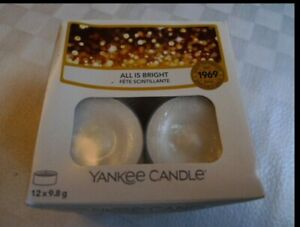 YANKEE CANDLE ALL IS BRIGHT Scented Tea lights Pack of 12 - GIFT SET - NEW