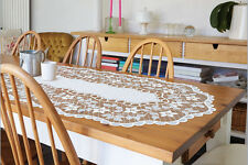 """Bianco, Pizzo, TAVOLO OVALE canale di alimentazione NUOVO (60 cm x 130cm) (24 """"X 51""""), elegante regalo"""