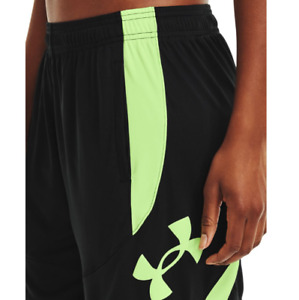Under Armour Women's UA Colorblock Heatgear Basketball Shorts. Black/Summer Lime