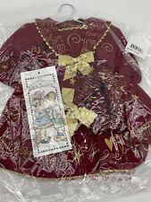 "Daisy Kingdom-Joy Peace Love Burgundy Dress Fits 17-19"" Dolls-Puff Sleeves"