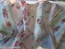 SHABBY BEACH BLUE PINK ROSES CHIC Maggiegracey's Cottage FULL/ QUEEN BED QUILT❤️
