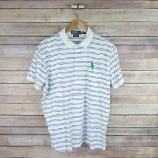 POLO Ralph Lauren Custom Fit Shirt Sz L White Green Horse Short Sleeve Men's
