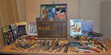 150 wood carving chisels & knives 11 drawer oak Gerstner chest manuals book lot