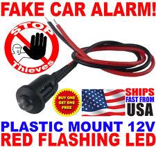 12v RED Alternating Flashing Dummy Fake Car Alarm Dash Mount LED Light PM