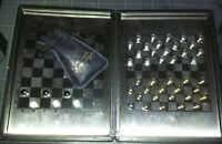 Coffret cuir, bois & métal - Jeu d'échecs & Dames - 6 jetons - Portable Voyage