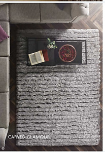 Origins Luxury Carved Glamour Contemporary Shaggy Rug Silver 3 Sizes