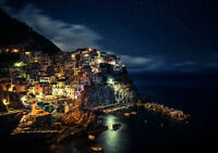 MANAROLA AT NIGHT NEW A3 CANVAS GICLEE ART PRINT POSTER