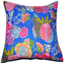 24x24 Blue decorative Pillow Cover Kantha throw Pillow kantha cushion Cover