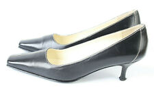 Elegant Laura Ashley Black Leather Pointed toe Kitten Heel Court Shoes UK 5 EU38
