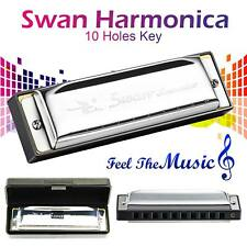 Swan Harmonica 10 Holes Key of C SILVER w/ Case Blues Harp Stainless Steel NEW