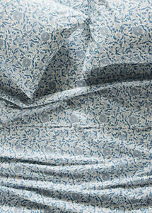 NEW Anthropologie Eydis Percale Sheet Set Queen Blue Floral