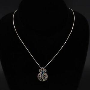 "Sterling Silver Ornate Topaz, Peridot & Diamond Accent Pendant 18"" Necklace - 6g"