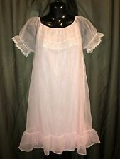 Vtg. Pink Chiffon Nightgown Gown Lingerie Youth Girls Size Large