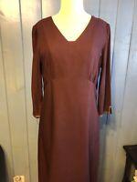 J Jill Womens Sz 12 80%rayon 20%wool Lined Dress w/ Pleated Hem 3/4 Sleeves EUC