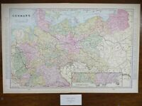 "Vintage 1900 GERMANY Map 22""x14"" ~ Old Antique Original BERLIN BADEN FRANCONIA"