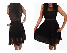 Lace Patternless Skater Dresses for Women
