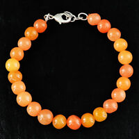 130.50 Cts Natural 8 Inches Long Orange Aventurine Unheated Round Beads Bracelet