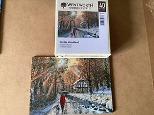 wentworth wooden jigsaw puzzle 40 piece winter woodland christmas theme