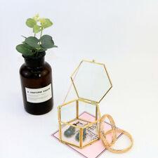 Hexagon Geometric Ring Box Glass Gift Holder Jewelry Storage Box Wedding Favor