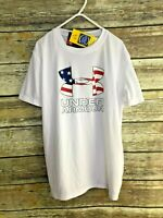 NEW Under Armour Boys White T Shirt USA Flag Patriotic Loose Fit  YMD UPF 40 M