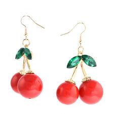 1 Pair Charm Women Fashion Cherry Drop Dangles Rhinestone Ear Studs Earrings New