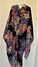 KIMONO Scarf Tunic Coverup Semi-sheer One-size Gorgeous Floral in Back NEW NWT