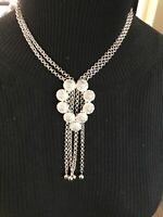 Signed Crown Trifari Silver Tone Multiple Chain Necklace Dangling Chains VTG