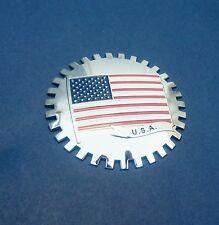 "2x USA FLAG CAR GRILL US BADGE 3D CHROME EMBLEMS Big ~4""or 99.8 mm (lot of 2)"