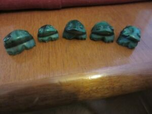 Chinese carved jade frogs x 5 vintage figures ornament - see photo`s
