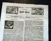 Rare 1720 POST BOY London England OLD Newspaper w/ Masthead Engravings PRINTS