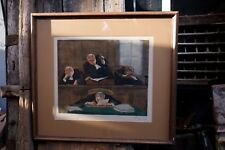 "GASTON HOFFMANN Signed ORIGINAL Print c1930s-40s French Courtroom 25 1/4"" x 28"""