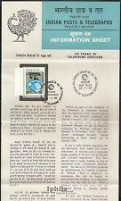 100 years TELEPHONE  1982 STAMPED FOLDER India Radio Rundfunk telephone telefone
