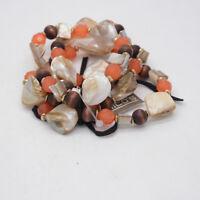 chico's jewelry 4 strands genuine shell wooden bead stretch bangle bracelet