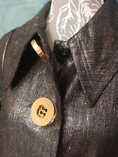 BERMAN BLACK Ladies Linen Jacket XS Metallic Silver Charcoal Unique Big Buttons